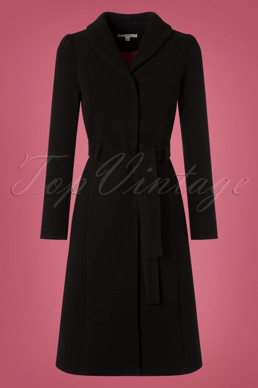 1950s Jackets, Coats, Bolero | Swing, Pin Up, Rockabilly 50s Dahlia Wool Coat in Black £228.78 AT vintagedancer.com