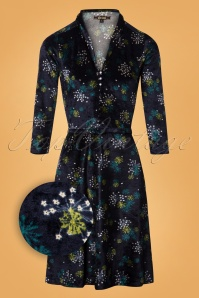 King Louie 70s Emmy Stardust Dress in Blue