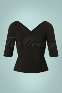 Collectif Clothing 50s Sonia Top in Black 110 10 24859 20180629 0006W