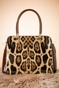 60s Carly Leopard Handbag in Coffee
