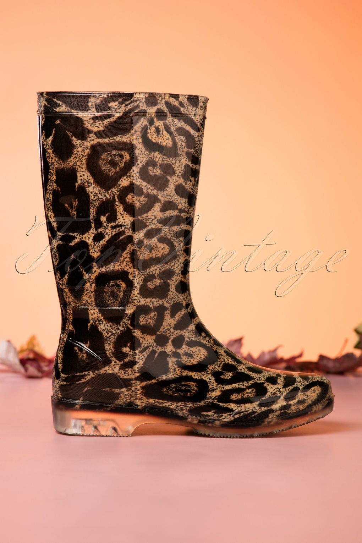 60s Shoes, Boots 60s Wild Leopard Rain Boots £24.39 AT vintagedancer.com