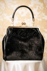 50s Beaujolais Faux Fur Handbag in Black