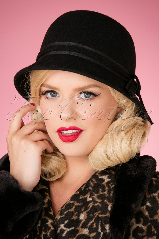 Women's Vintage Hats | Old Fashioned Hats | Retro Hats 50s Ida Wool Hat in Black £23.68 AT vintagedancer.com