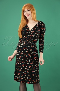 60s Cecil Cherry Pie Dress in Black