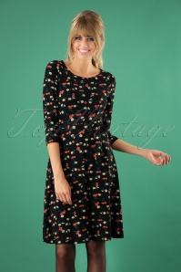 King Louie 60s Cherry Pie Skater Dress in Black