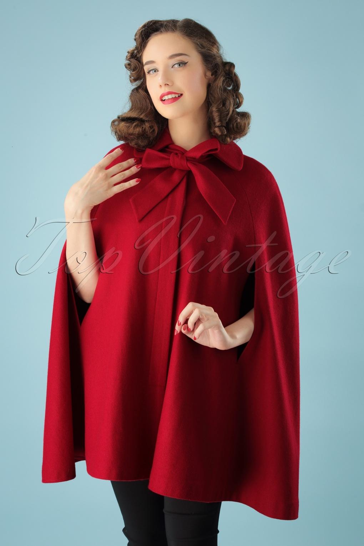 1950s Jackets, Coats, Bolero | Swing, Pin Up, Rockabilly 50s Caroline Cape Coat in Red £111.31 AT vintagedancer.com