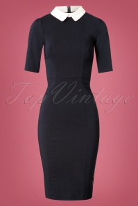 Collectif Clothing Winona Pencil Dress in Navy Blue 24891 20180629 0002W