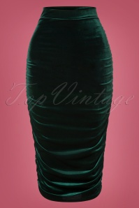50s Gia Velvet Bodycon Pencil Skirt in Bottle Green