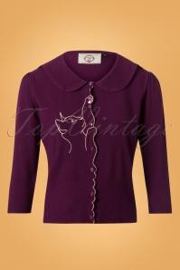 Banned Cat Scallop Collar Cardigan Purple 26242 20180705 0002W