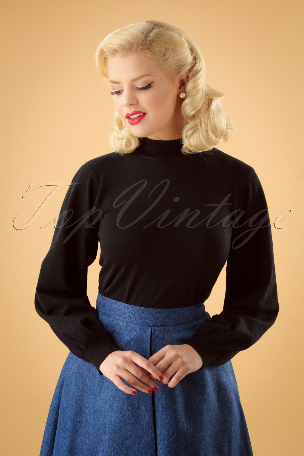 60s 70s Style Sweaters, Cardigans & Jumpers 60s Victorian Pullover in Black £31.64 AT vintagedancer.com