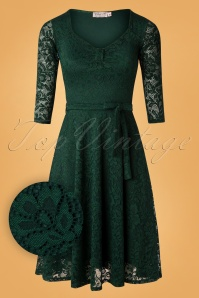 50s Myra Lace Tea Dress in Forest Green
