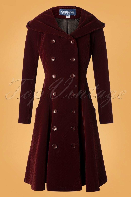 Vintage Coats & Jackets | Retro Coats and Jackets 50s Heather Hooded Quilted Velvet Coat in Wine £161.21 AT vintagedancer.com