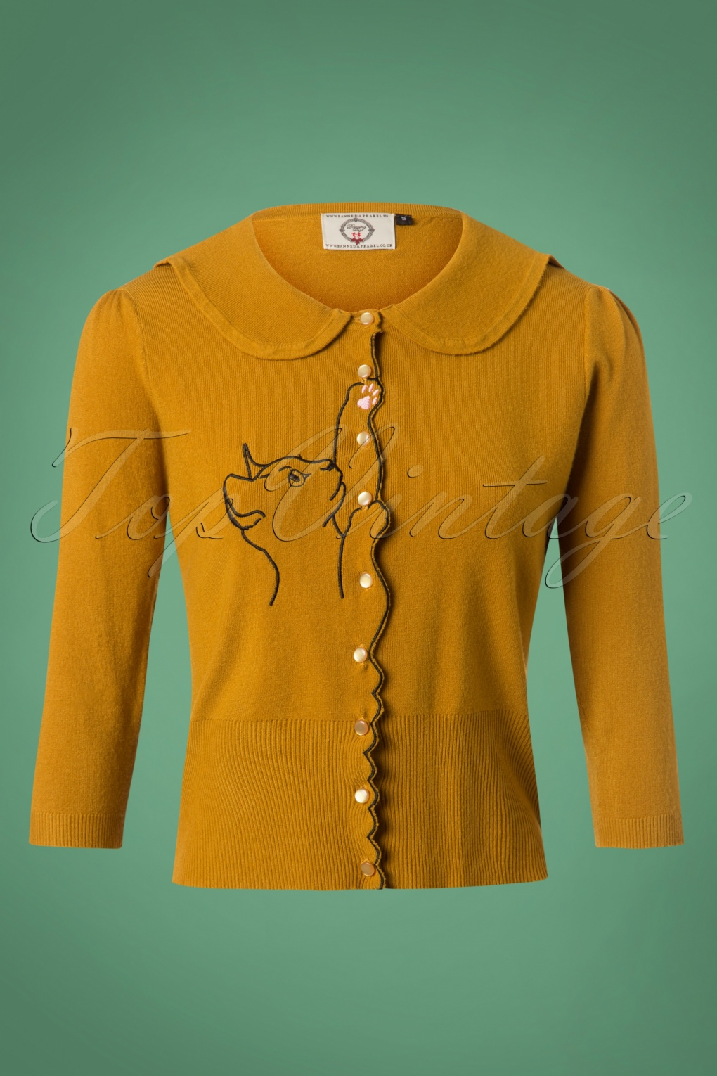 1950s Sweaters, 50s Cardigans, Twin Sweater Sets 60s Cat Scallop Collar Cardigan in Mustard £36.86 AT vintagedancer.com