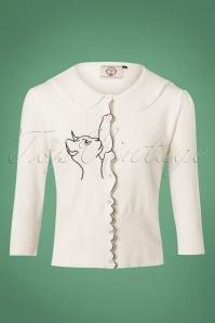 60s Cat Scallop Collar Cardigan in Off White
