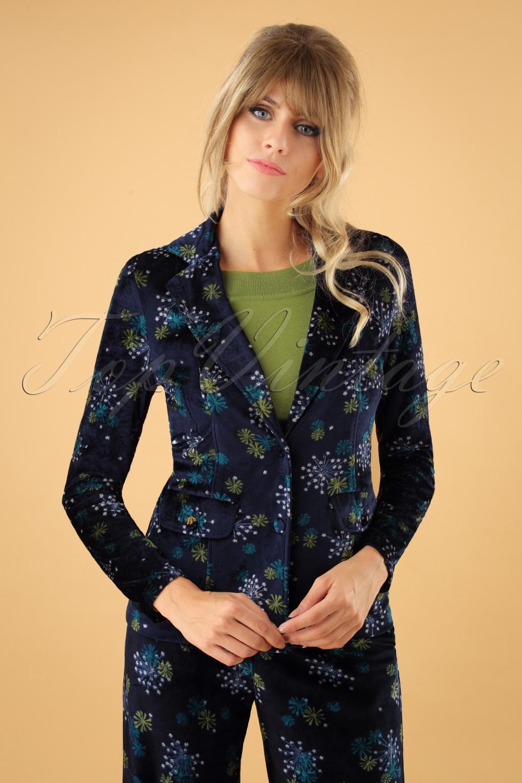 Women's 70s Shirts, Blouses, Hippie Tops 70s Eda Stardust Blazer in Blue £100.07 AT vintagedancer.com
