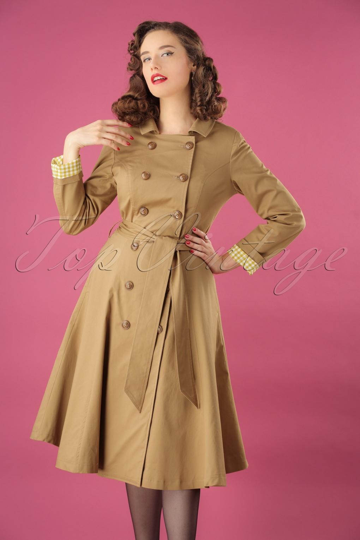 1940s Coats & Jackets Fashion History 40s Korrina Shower Proof Swing Trench Coat in Beige £135.68 AT vintagedancer.com