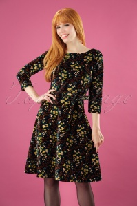 King Louie 70s Betty Wonderland Dress in Black