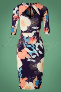 Fabienne Floral Pencil Dress Années 50 en Bleu