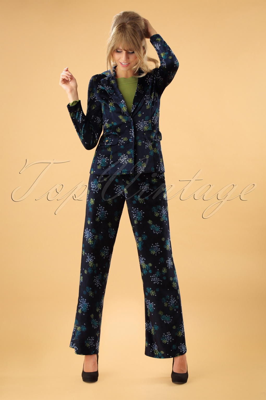 Vintage High Waisted Trousers, Sailor Pants, Jeans 70s Ethel Flared Stardust Trousers in Blue £69.60 AT vintagedancer.com