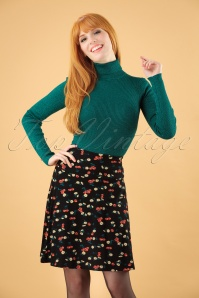 60s Cherry Pie Borderskirt in Black