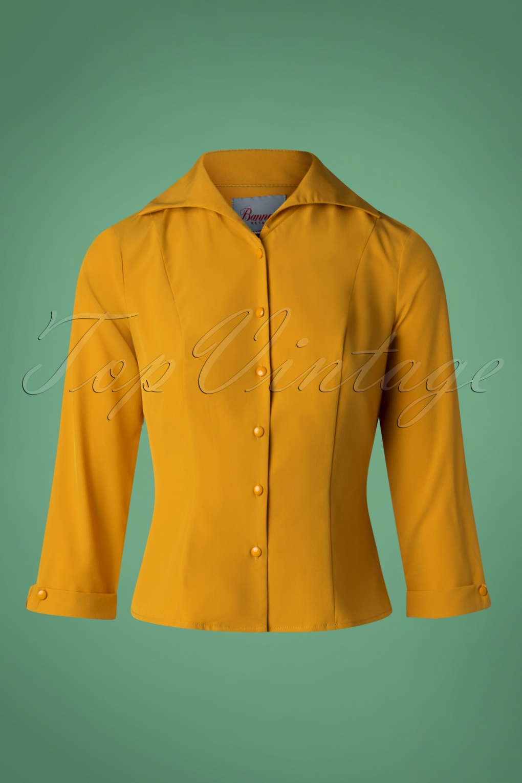 Vintage & Retro Shirts, Halter Tops, Blouses 50s Janine Blouse in Mustard £24.56 AT vintagedancer.com