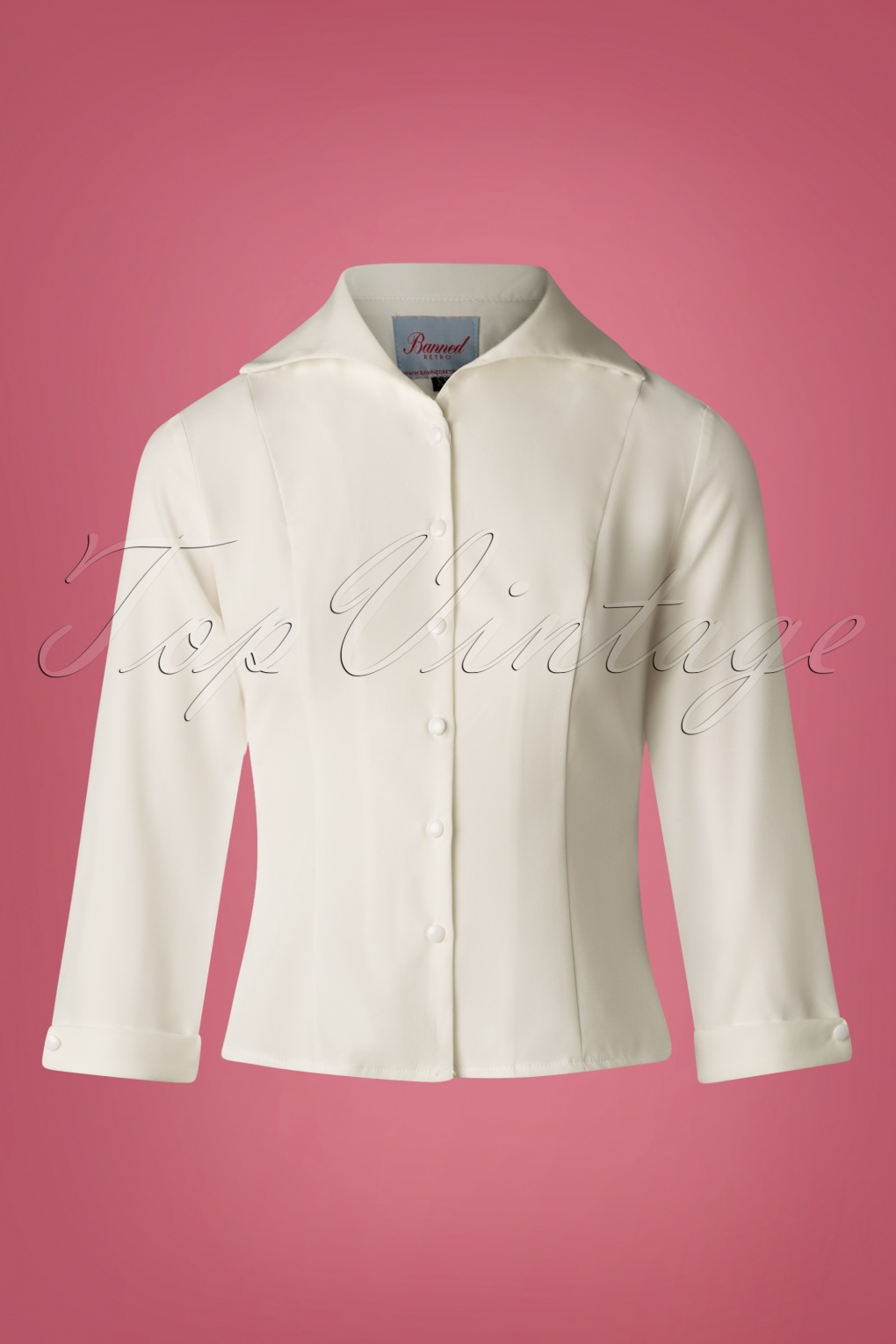 1950s Rockabilly & Pin Up Tops, Blouses, Shirts 50s Janine Blouse in Off White £24.56 AT vintagedancer.com