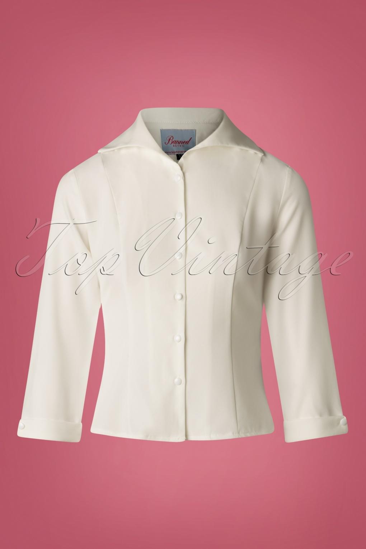 Vintage & Retro Shirts, Halter Tops, Blouses 50s Janine Blouse in Off White £24.56 AT vintagedancer.com