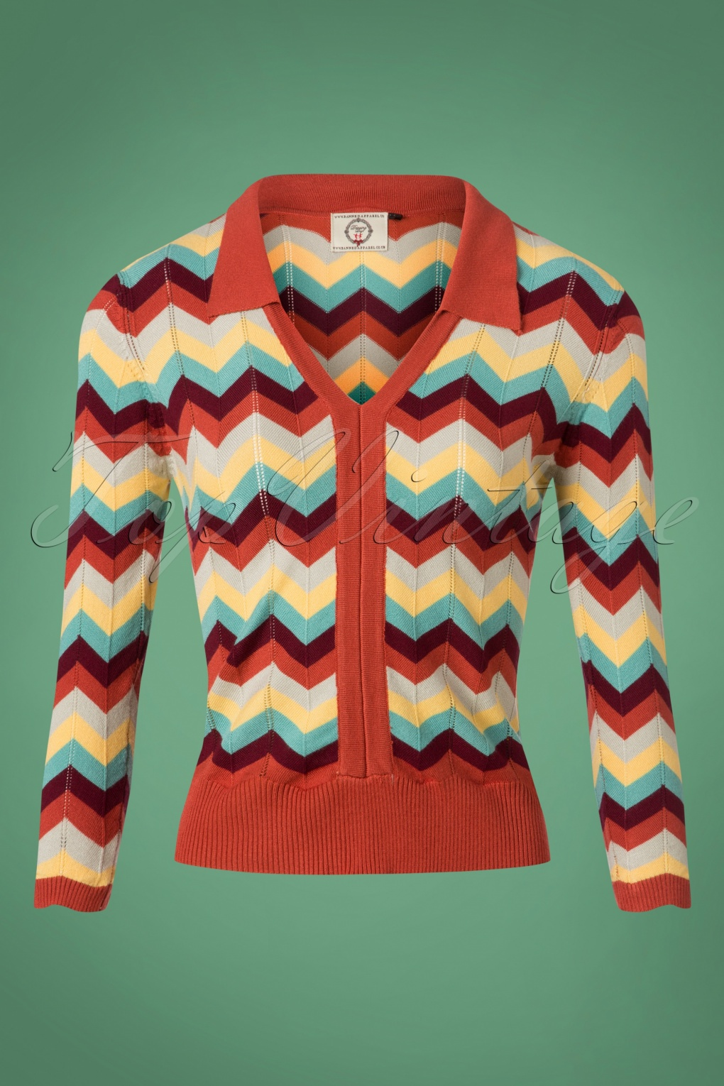Women's 70s Shirts, Blouses, Hippie Tops 60s Zoe Zig Zag Collar Top in Earth and Aqua £39.36 AT vintagedancer.com