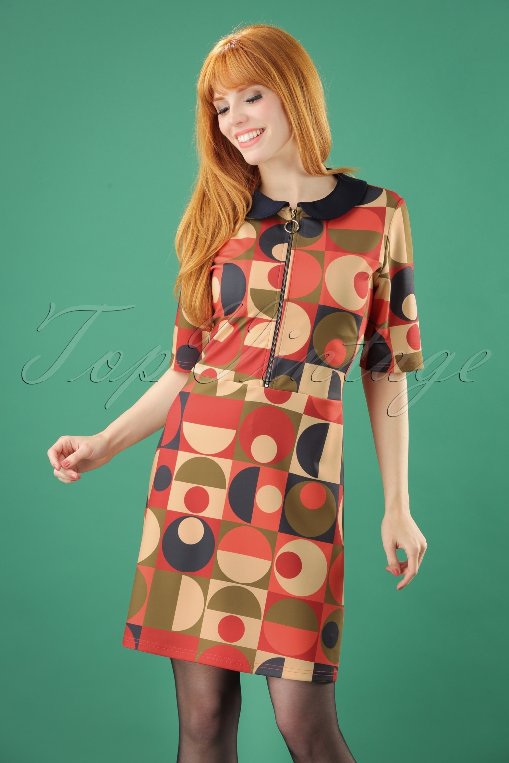 1960s Style Dresses, Clothing, Shoes UK 60s Geo Circles Dress in Multi £37.16 AT vintagedancer.com