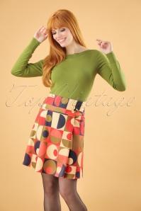 60s Geo Circles Skirt in Multi
