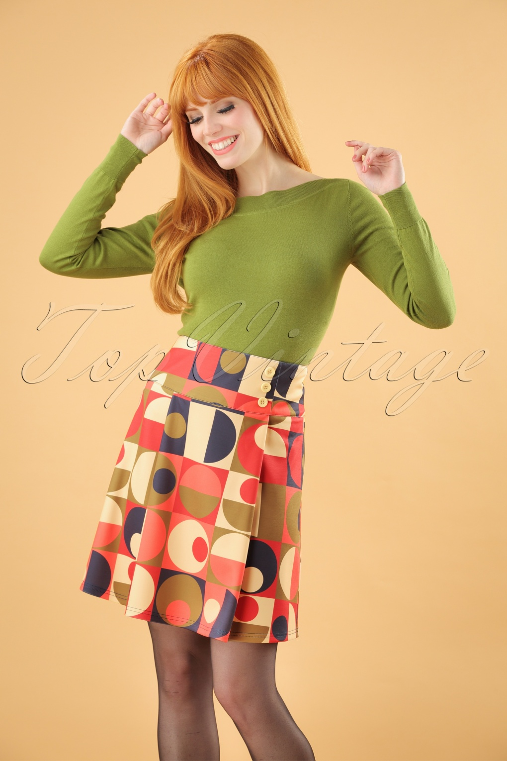 1960s Style Dresses, Clothing, Shoes UK 60s Geo Circles Skirt in Multi £27.83 AT vintagedancer.com