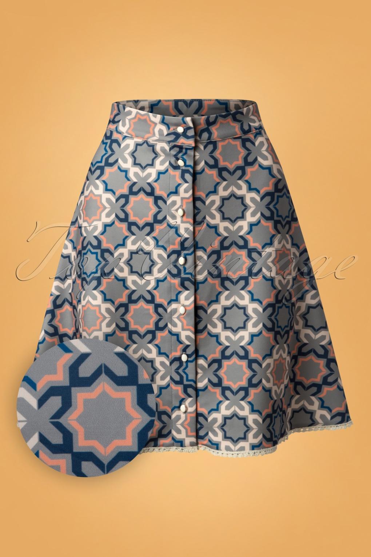60s Skirts | 70s Hippie Skirts, Jumper Dresses 70s Tile Skirt in Grey Blue £26.23 AT vintagedancer.com
