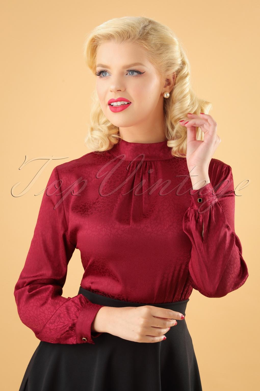 1950s Rockabilly & Pin Up Tops, Blouses, Shirts 40s Natalie Blouse in Bordeaux £29.06 AT vintagedancer.com
