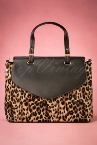 50s Liz Leopard Handbag in Black