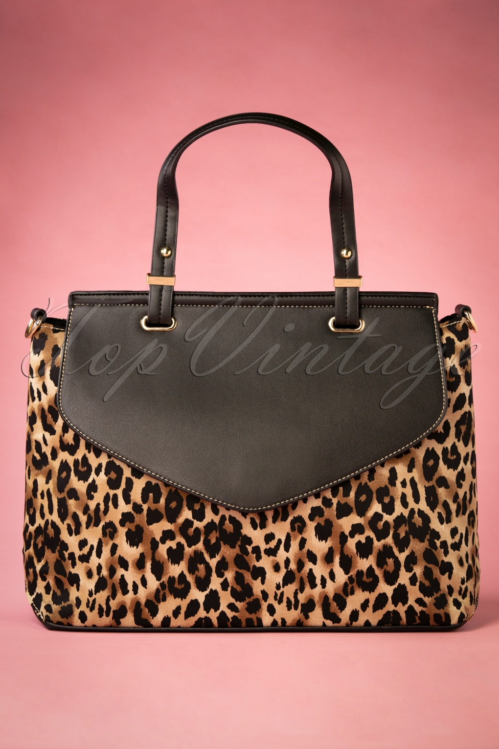 1950s Handbags, Purses, and Evening Bag Styles 50s Liz Leopard Handbag in Black £31.60 AT vintagedancer.com