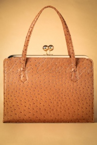 40s Iris Ostrich Effect Handbag in Tan