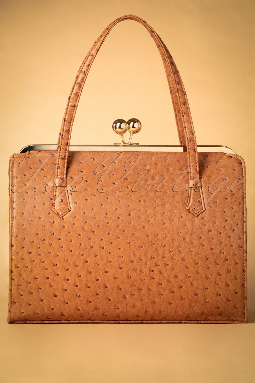 Vintage & Retro Handbags, Purses, Wallets, Bags 40s Iris Ostrich Effect Handbag in Tan £39.77 AT vintagedancer.com