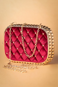50s Catherine Velvet Hard-Case Clutch in Red