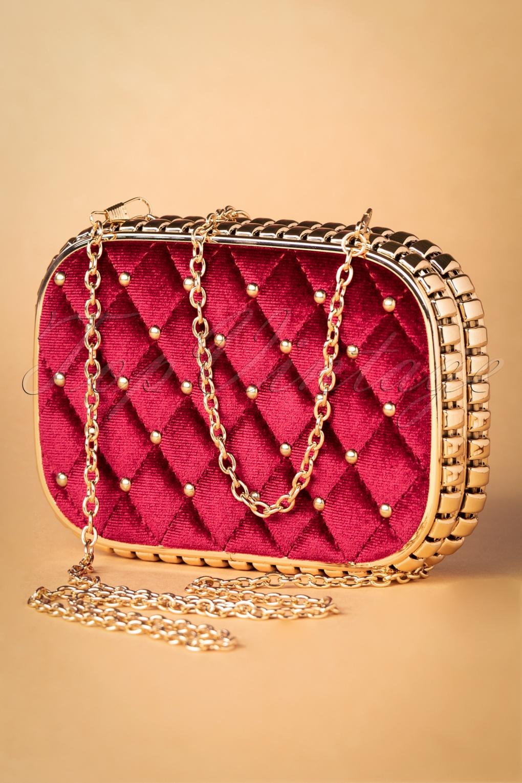 Vintage & Retro Handbags, Purses, Wallets, Bags 50s Catherine Velvet Hard-Case Clutch in Red £35.58 AT vintagedancer.com