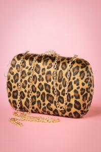 50s Lila Hard-Case Clutch in Leopard