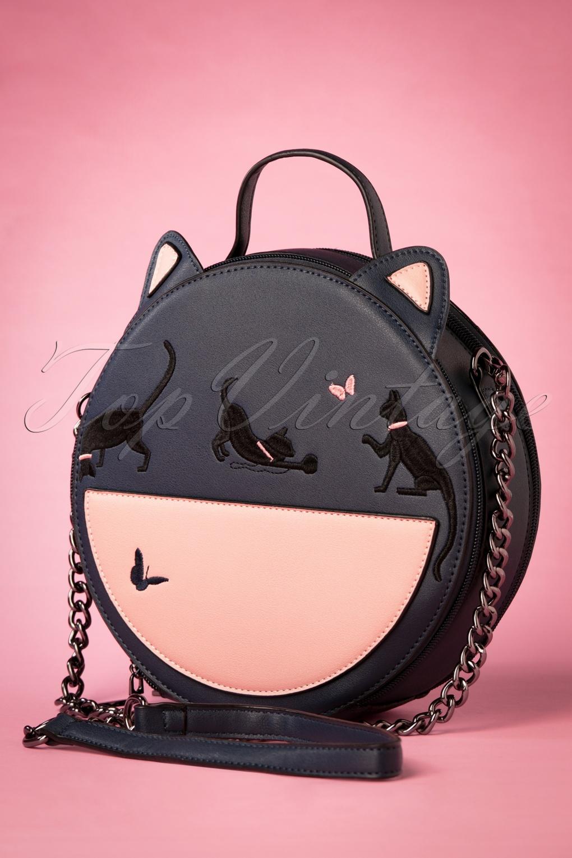 Vintage & Retro Handbags, Purses, Wallets, Bags 50s Joanie Round Kitty Handbag in Navy £30.92 AT vintagedancer.com