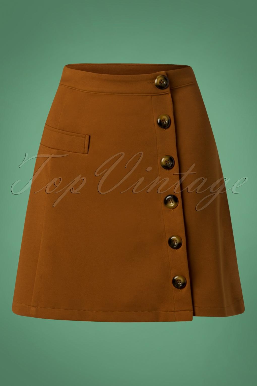 60s Skirts | 70s Hippie Skirts, Jumper Dresses 60s Beatrice Skirt in Tobacco �25.99 AT vintagedancer.com