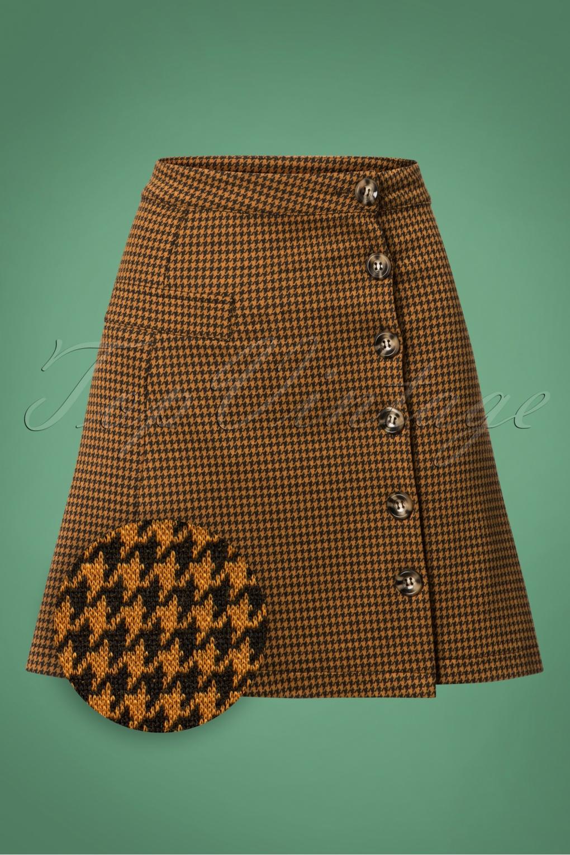 60s Skirts | 70s Hippie Skirts, Jumper Dresses 60s Beatrice Houndstooth Skirt in Tobacco �27.79 AT vintagedancer.com