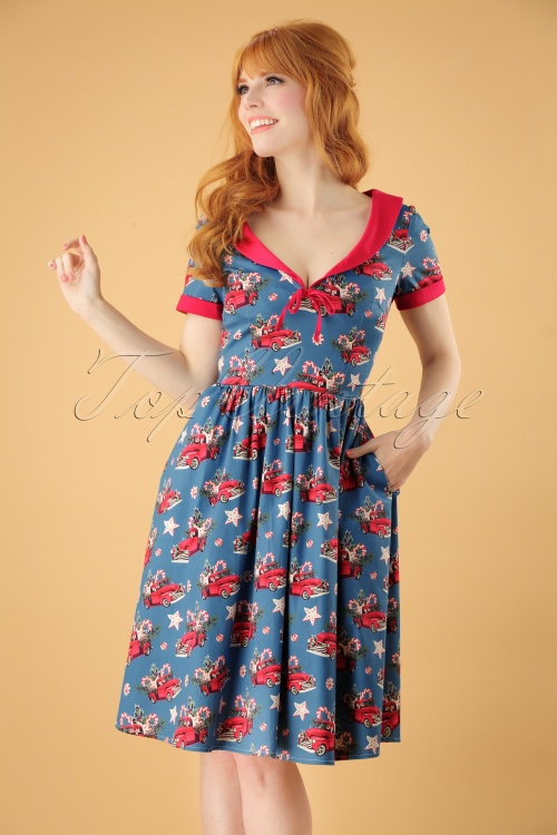 Christmas Swing Dress.50s Christmas Drive Thru Swing Dress In Blue