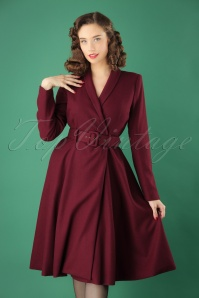 Collectif Clothing 40s Dawn Wool Swing Coat in Wine