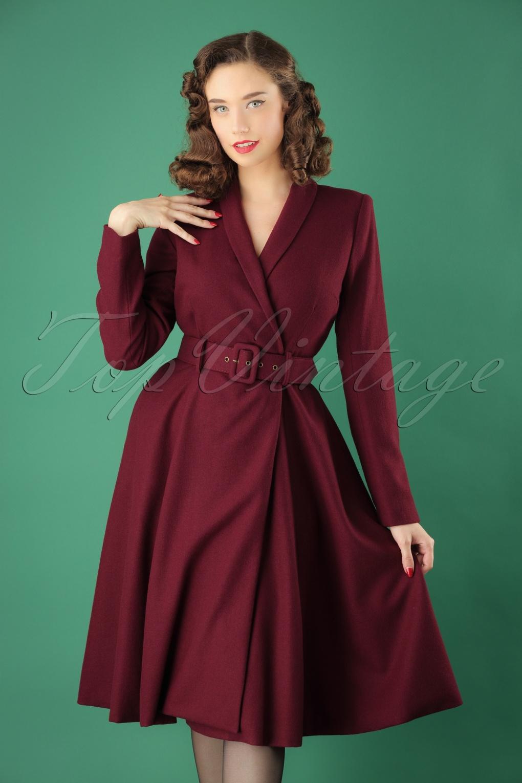 1950s Jackets, Coats, Bolero | Swing, Pin Up, Rockabilly 40s Dawn Wool Swing Coat in Wine £160.99 AT vintagedancer.com
