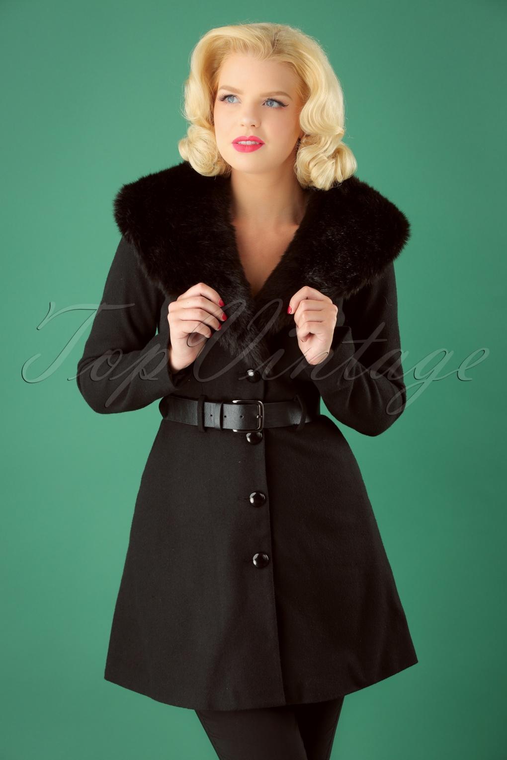 1950s Jackets, Coats, Bolero | Swing, Pin Up, Rockabilly 50s Skylar Coat in Black £45.70 AT vintagedancer.com