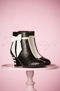 60s Ava Bow Booties in Black and White