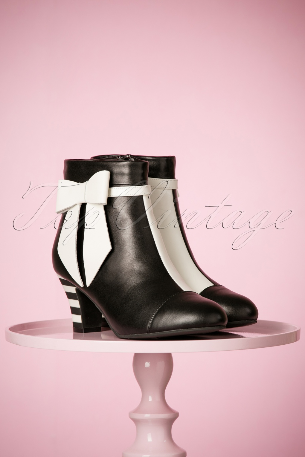 Retro Boots, Granny Boots, 70s Boots 60s Ava Bow Booties in Black and White £175.08 AT vintagedancer.com