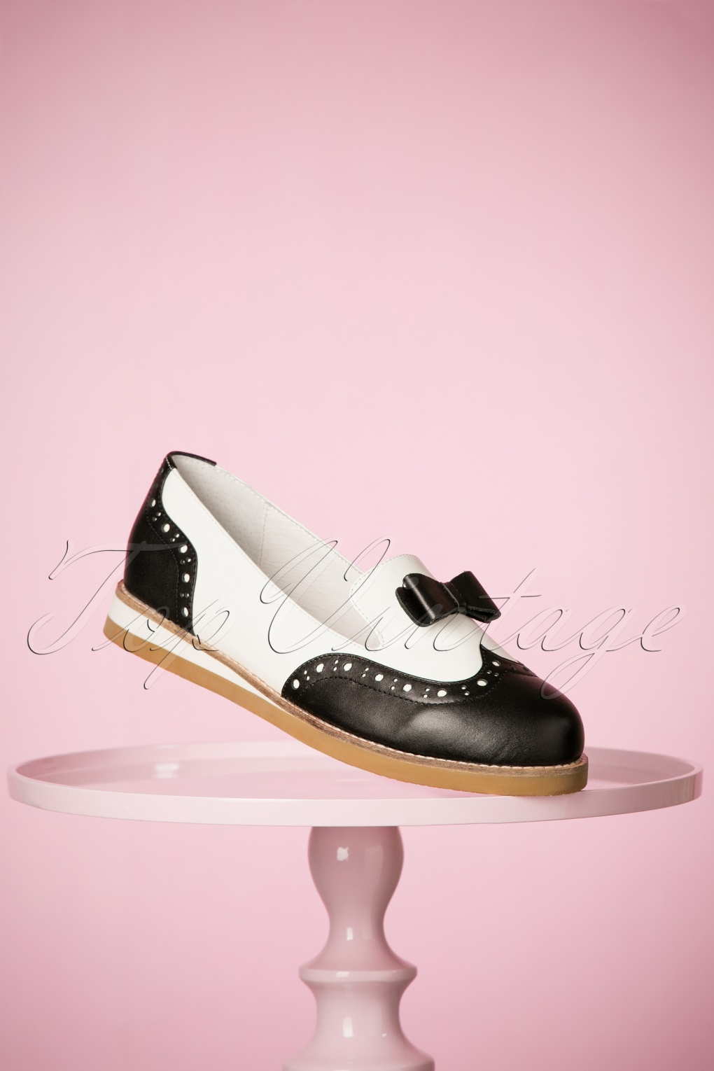 Retro Vintage Flats and Low Heel Shoes 50s Cecilia Loafer Love Shoes in Black and White £131.34 AT vintagedancer.com